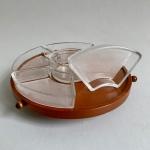 Cabaret snurra i teak med glas skålar Retrolux antik
