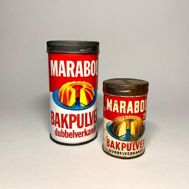 Marabou bakpulver plåtburkar från 1960-talets kök Retrolux antik