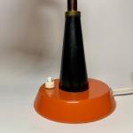 Röd orange Bordslampa tidigt 1970-tal med svanarm Retrolux antik
