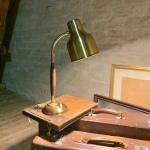 Retro Skrivbordslampa bordslampa mässing teak Retrolux antik