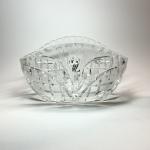 Oval större glasskål med etsad dekor